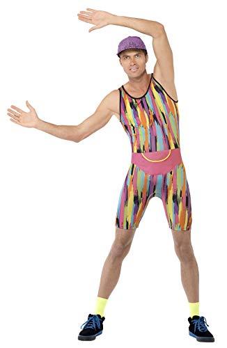 Smiffys Herren Aerobic Instructor Kostüm, Jumpsuit, Mütze und Bauchtasche, Größe: M, 23696