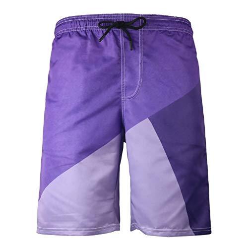 Kurze Hose Shorts Herren Badeshorts Xjp MäNner Sommer Mode 3D Gedruckte Farbblock Shorts Atmungsaktive Freizeitsport Strand Hosen Laufshorts Sportshorts(XXXL, Lila)