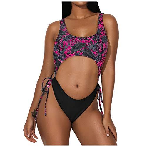 DNOQN Frauen sexy Zweiteiligen Badeanzug mit Blumenmuster Sling Tie Bikini Beachwear Bademode Badeanzüge Bauchweg Große Größe Figurformend Tankini Push Up Monokini Bademode