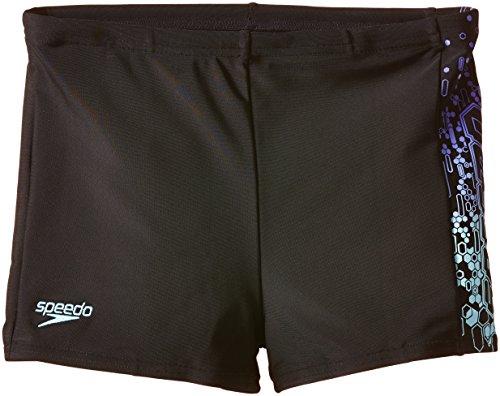 Speedo Jungen Badehose Logo Panel Aquashorts, Black/Chill Blue/Violet, 140, 8-093129705