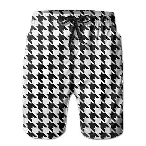 yting Schwarzweiss-Hahnentrittmuster Herren Badehose Quick Dry Badeanzug Sommerurlaub Strand Shorts mit Taschen,Größe L