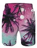 AIDEAONE Badehose Für Herren Kurz Schnelltrocknend Badeshorts Vielfarbig Hawaii Rosa Strand Surf Shorts L