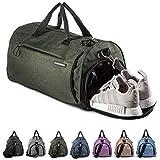 Fitgriff Sporttasche Reisetasche mit Schuhfach & Nassfach - Männer & Frauen Fitnesstasche - Tasche für Sport, Fitness, Gym - Travel Bag & Duffel Bag 48cm x 26cm x 25cm [30 Liter] (Grün, Small)