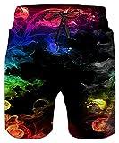 Idgreatim Herren Teens 3D Bunte Rauch Grafik Shorts Badehose Sommer Strand Shorts Badehose XL