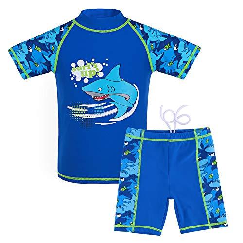 G-Kids Kinder Jungen Badeanzug Bademode Zweiteiliger UPF 50+ UV Schützend Schwimmanzug, Blau, 128/134