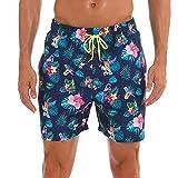 SUNFANY Herren Beachshort Schnell trocknende Strand-Badehose Gestreifte Stretch Surfboard Badeanzüge Blumenmuster Surfanzug(Mehrfarbig,XL)