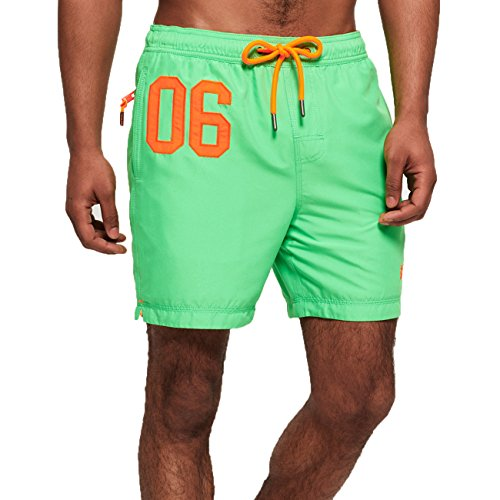 Superdry Badeshorts Herren Waterpolo Swim Shorts Deck Bright Green, Größe:XL