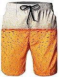Loveternal Badehose Herren 3D Duck Bier Badehose für Herren Kurze Schnelltrocknend Surf Shorts Gelb S