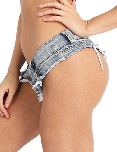 iixpin Damen Bikinihose Beachshort Hotpants Jeansshorts Denim Shorts Destroyed Style Jeans Hose Slip Hipster S M L Blau Large