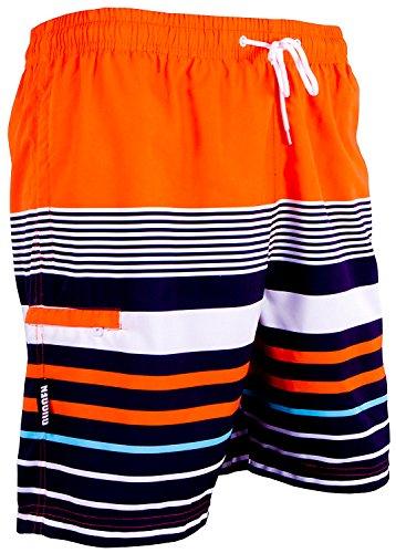 GUGGEN Mountain Badehose für Herren Schnelltrocknende Badeshorts 595 mit Kordelzug Beachshorts Boardshorts Schwimmhose Männer mit Muster Orange Schwarz XL