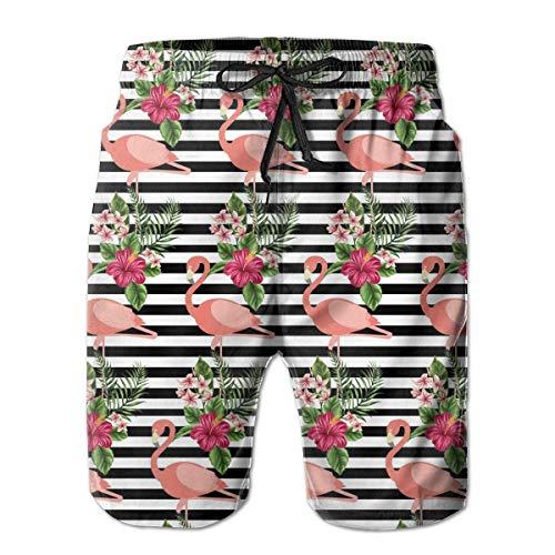 yting Gestreifter Schwarzweiss-Flamingo Herren Badehose Quick Dry Badeanzug Sommerurlaub Strand Shorts mit Taschen,Größe XXL