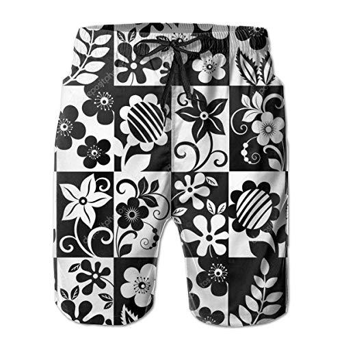 yting Schwarzweiss-Blume Herren Badehose Quick Dry Badeanzug Sommerurlaub Strand Shorts mit Taschen,Größe L