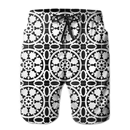 yting Lustige schwarz-weiß gestreifte Badehose für Jungen mit elastischer Taille und schnell trocknenden Boardshorts, Größe XL