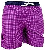 GUGGEN Mountain Badehose für Herren Schnelltrocknende Badeshorts Style-6 mit Kordelzug Beachshorts Boardshorts Schwimmhose Männer kariert Farbe Lila XXXL